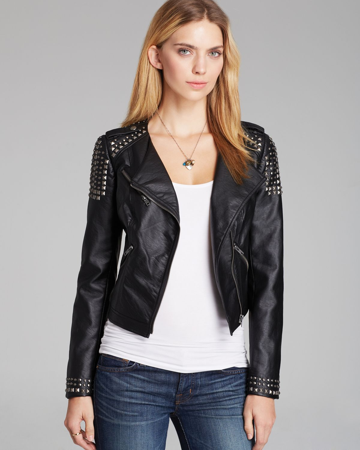Guess Jacket Faux Leather Moto in Black - Lyst