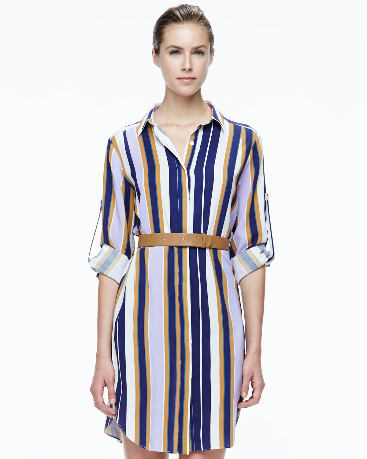 Halston heritage striped belted fuji silk shirt dress in for Halston heritage shirt dress