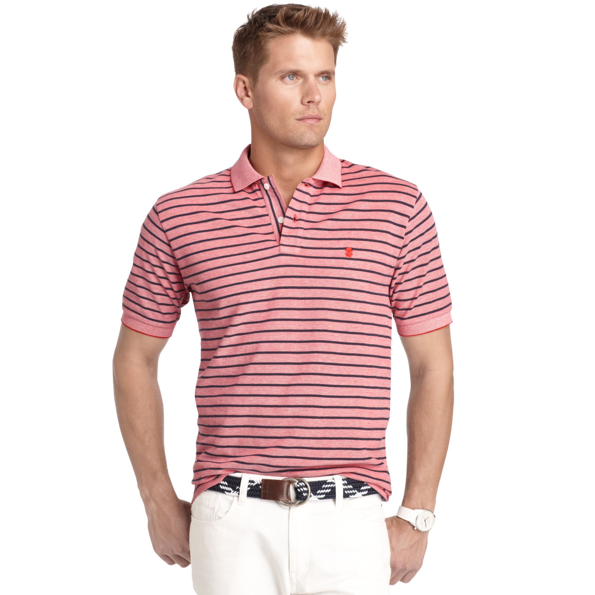 Izod big and tall shirt short sleeve oxford stripe polo in for Lacoste big and tall polo shirts