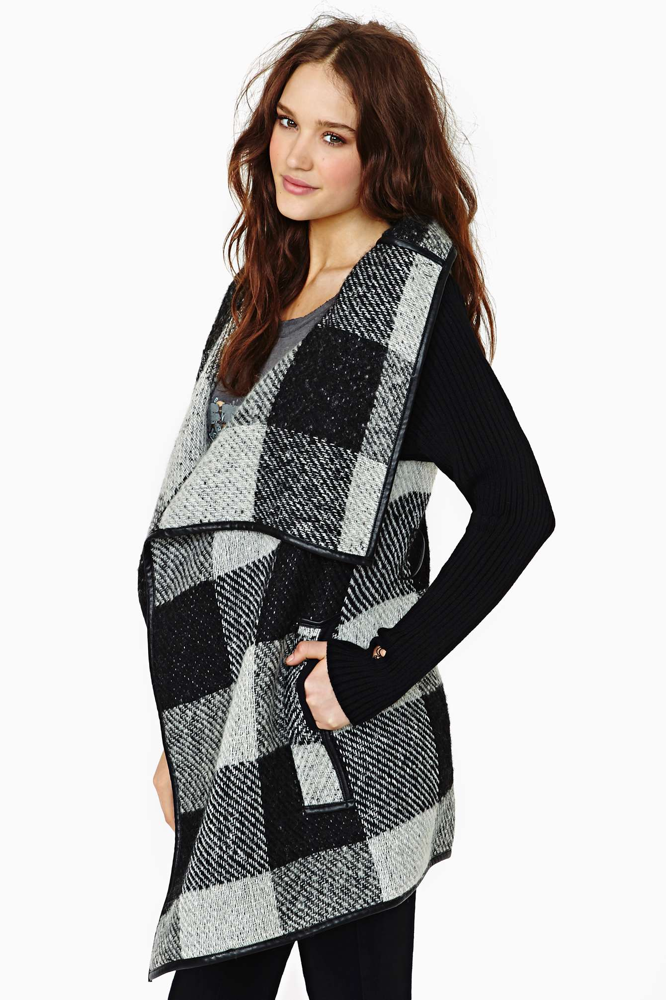 Nasty Gal Stockholm Plaid Wrap Coat In White Lyst