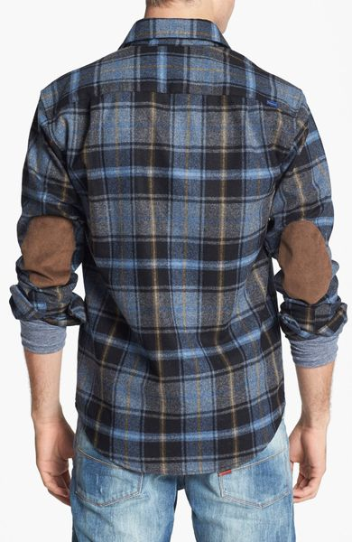 Pendleton Trail Fitted Wool Flannel Shirt With Elbow