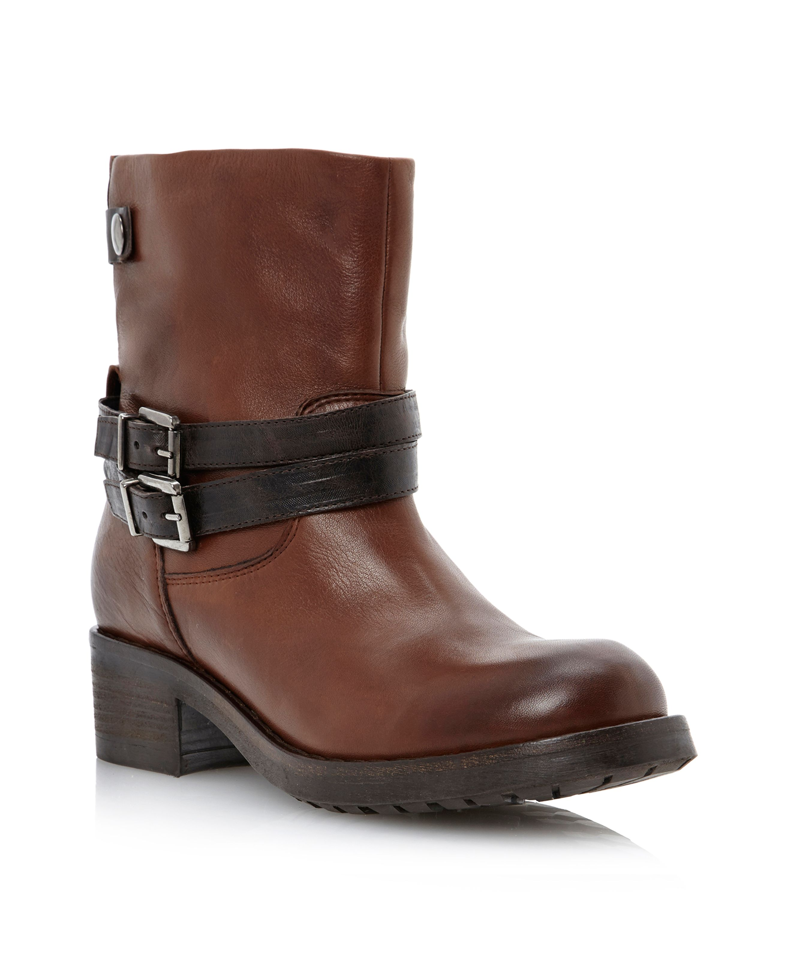 Pied A Terre Piazzap Contrast Strap Biker Boots In Brown