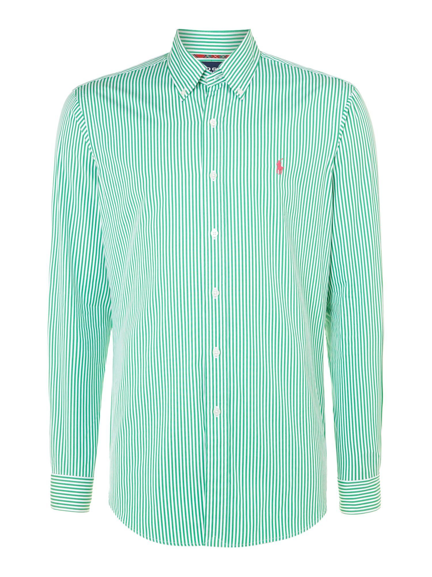 Ralph Lauren Golf Gingham Long Sleeve Shirt In Green For