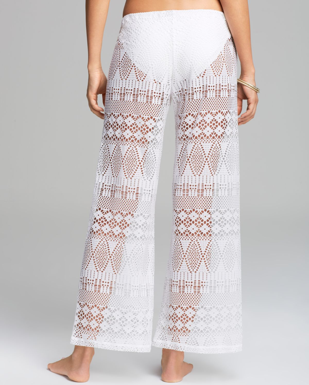 12e43cce9e6f8 Lyst - Ralph Lauren Blue Label Oasis Crochet Pant Swim Coverup in White
