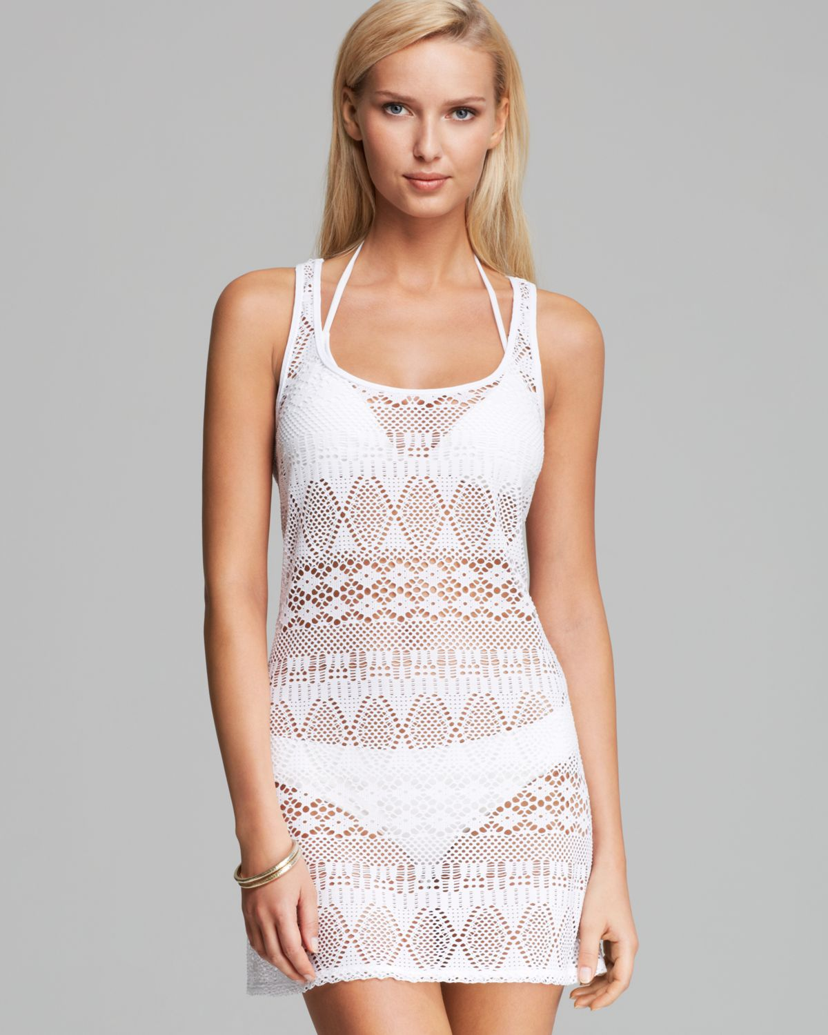 bb0b3581a Ralph Lauren Blue Label Oasis Crochet Tank Dress Swim Cover Up in ...