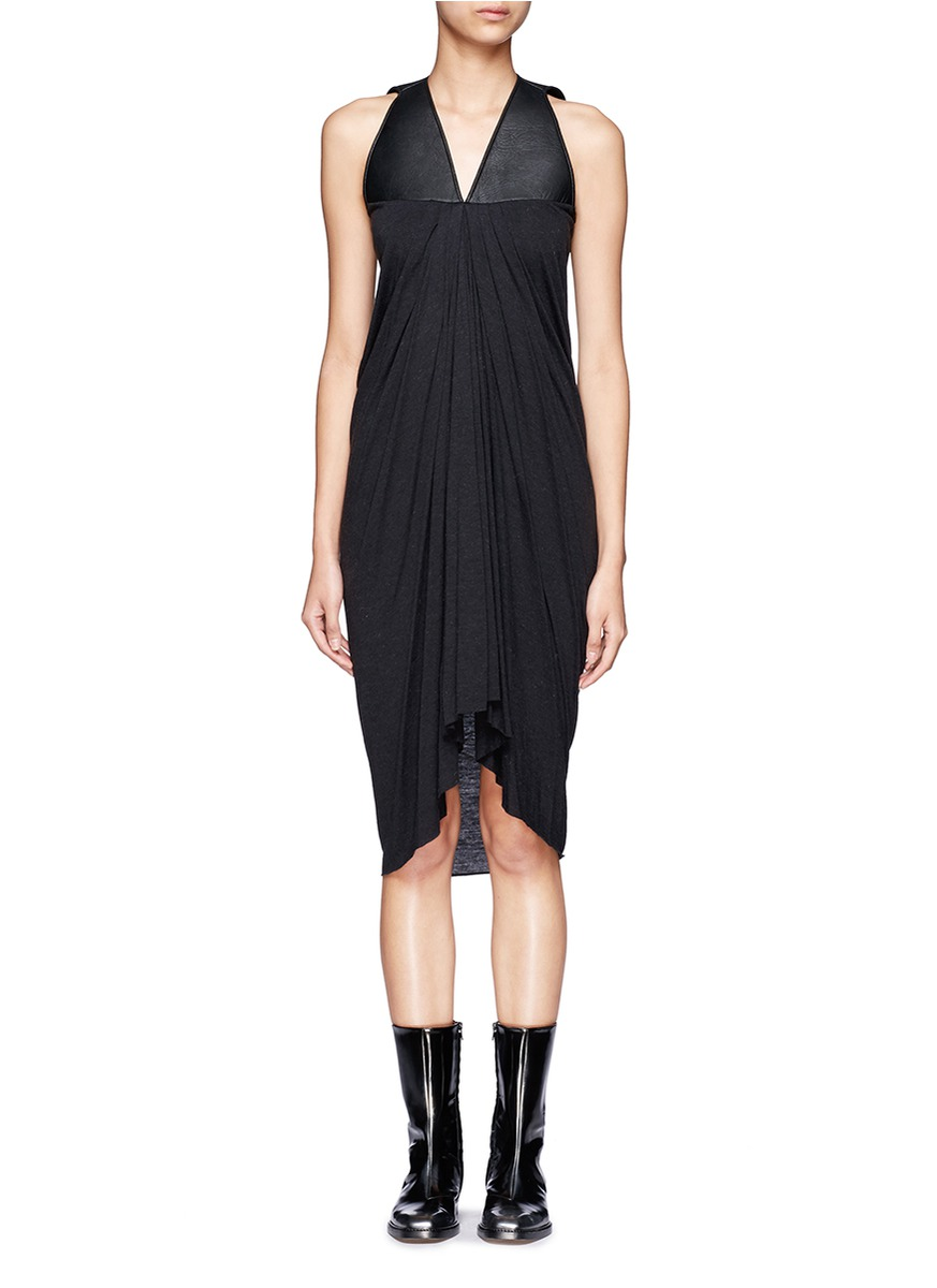 Rick Owens Lilies Leather Panel Draped Front Sleeveless