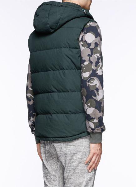 Scotch Amp Soda Detachable Hood Down Gilet Vest In Green For