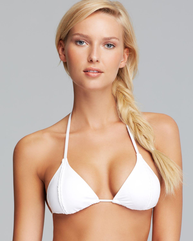 trina turk madagascar triangle bikini top in white lyst. Black Bedroom Furniture Sets. Home Design Ideas