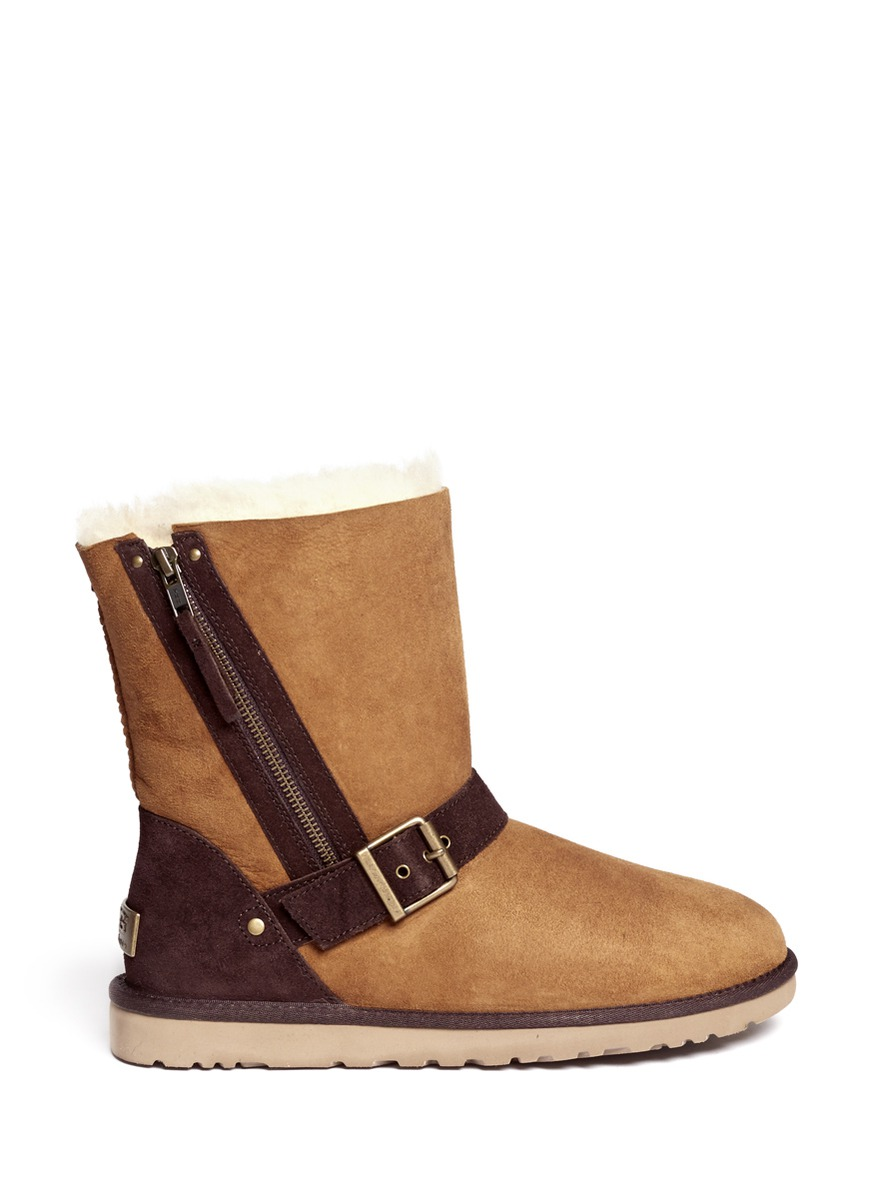 ugg blaise zipped boots in brown lyst