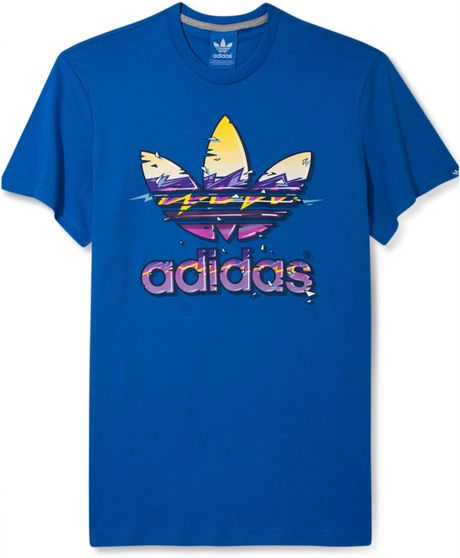 Adidas originals hawaii trefoil graphic tshirt in blue for for Hawaiian graphic t shirts