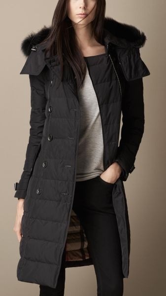Burberry Down Filled Coat With Fur Trim In Black Lyst