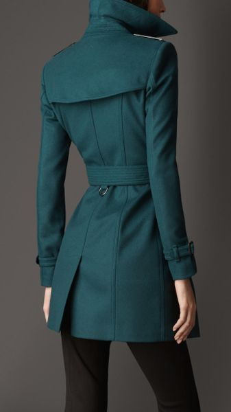Burberry Mid Length Slim Fit Wool Cashmere Trench Coat In
