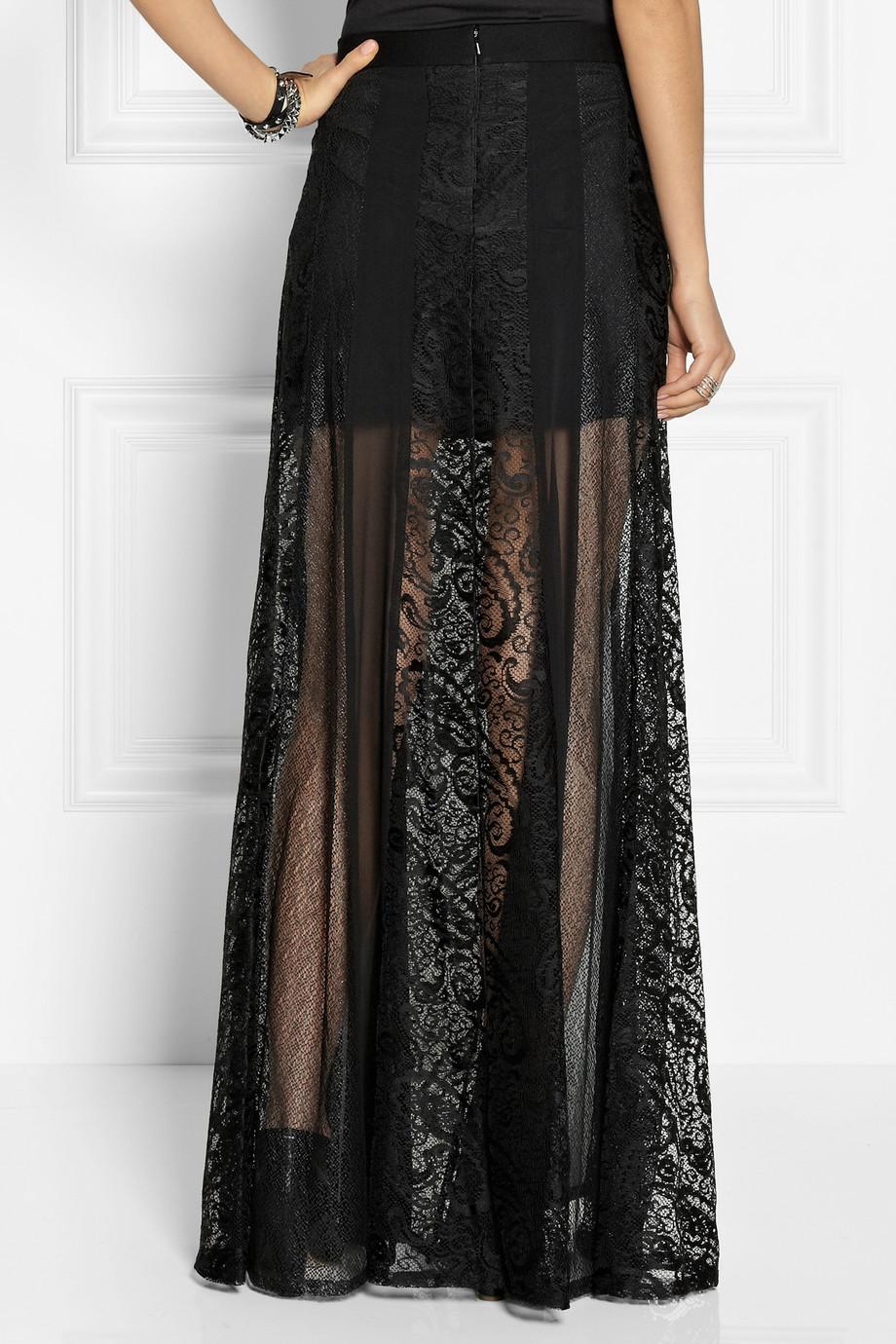 Lyst Dkny Paneled Lace And Silkblend Chiffon Maxi Skirt