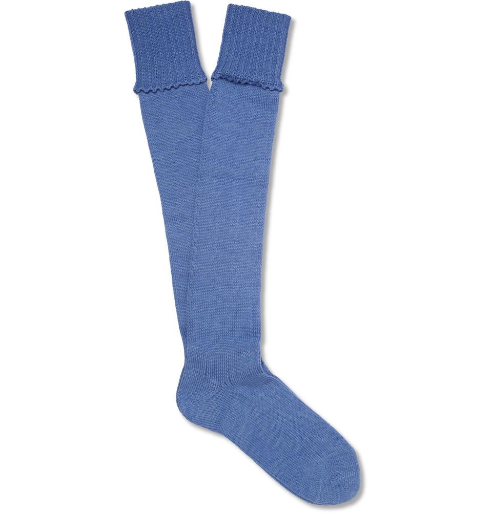 d1387579b Emma Willis Kneelength Merino Wool Shooting Socks in Blue for Men - Lyst