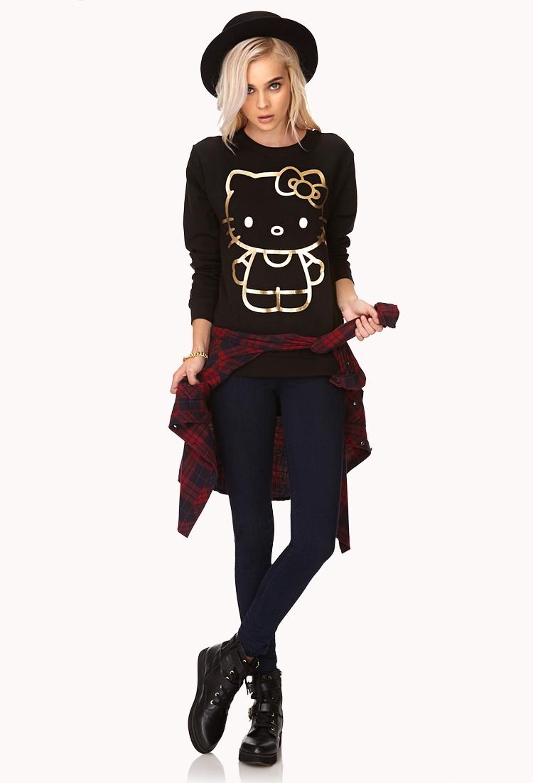 Lyst Forever 21 Metallic Hello Kitty Sweatshirt In Black