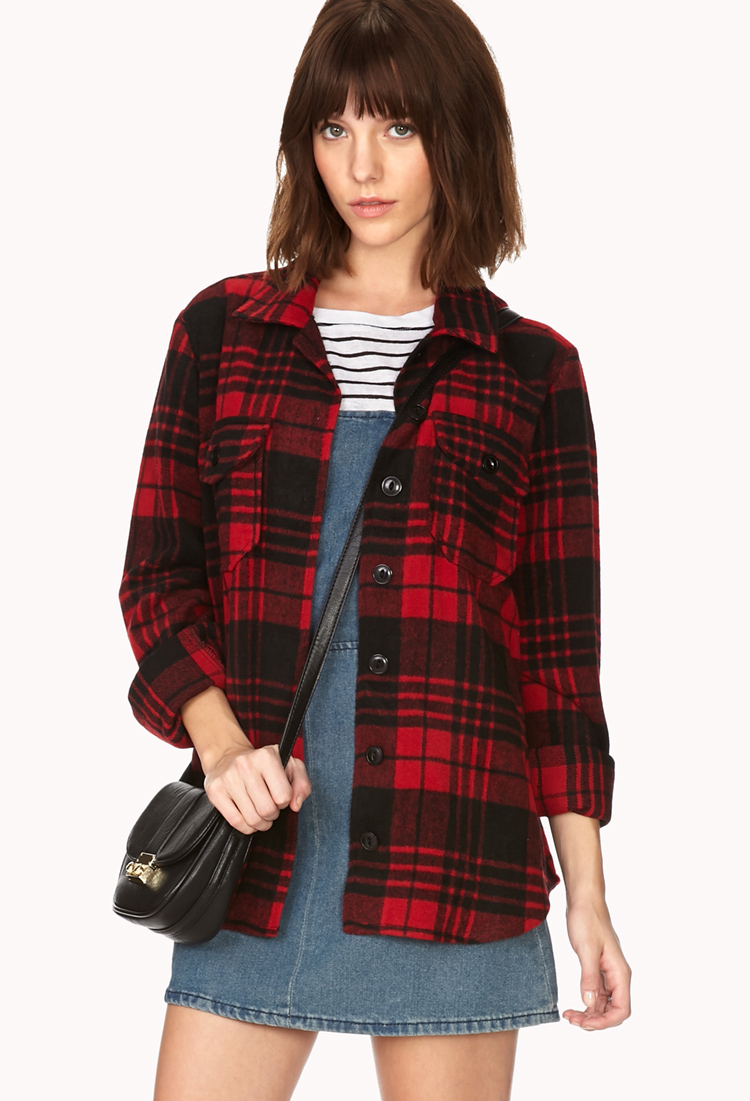 Forever 21 buffalo check flannel in red red black lyst for Buffalo check flannel shirt jacket
