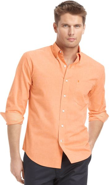 Izod shirt longsleeve essential solid shirt in orange for for Izod big and tall essential solid shirt