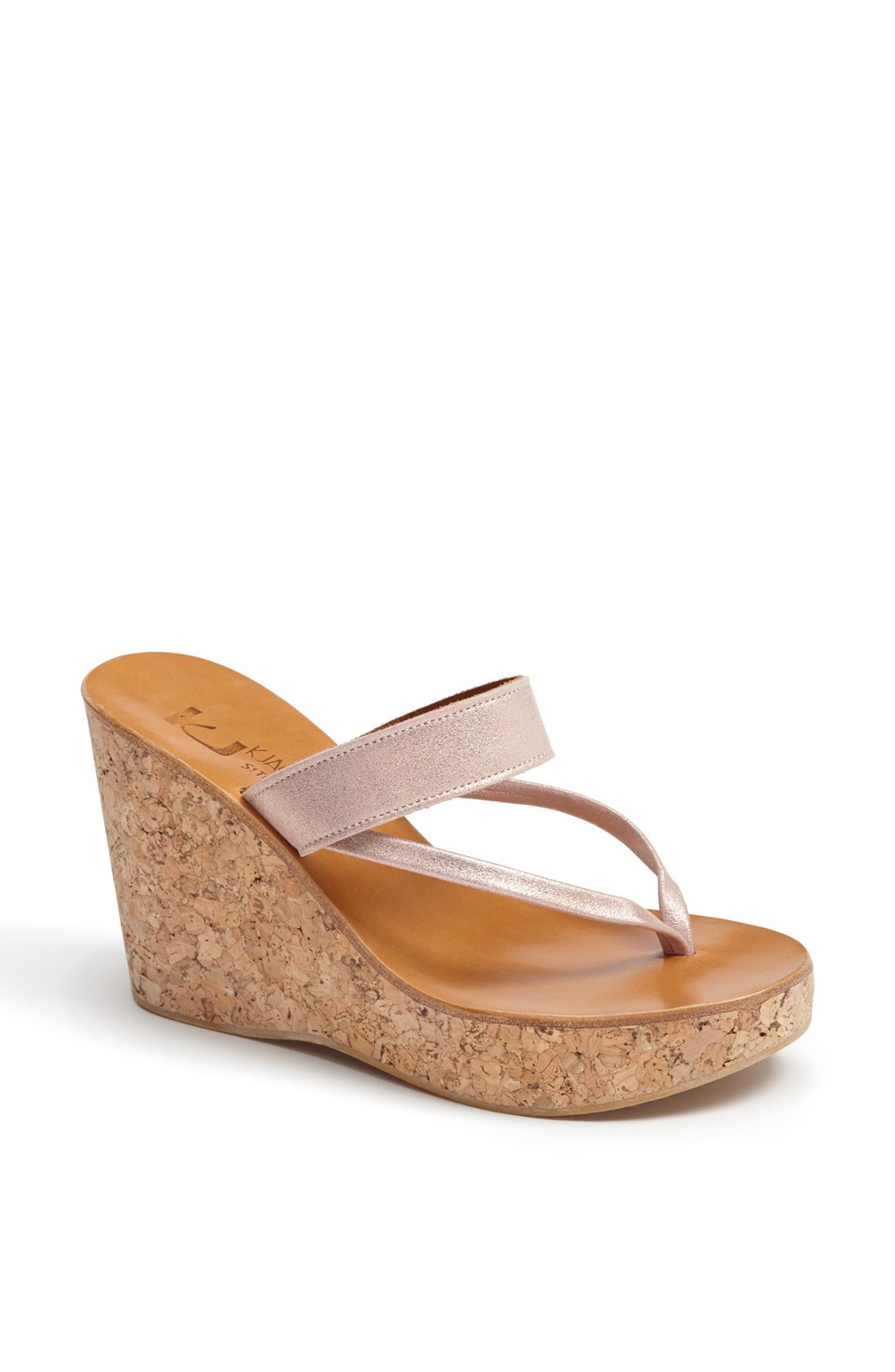 K Jacques St Tropez Saturnine Cork Wedge Sandal In