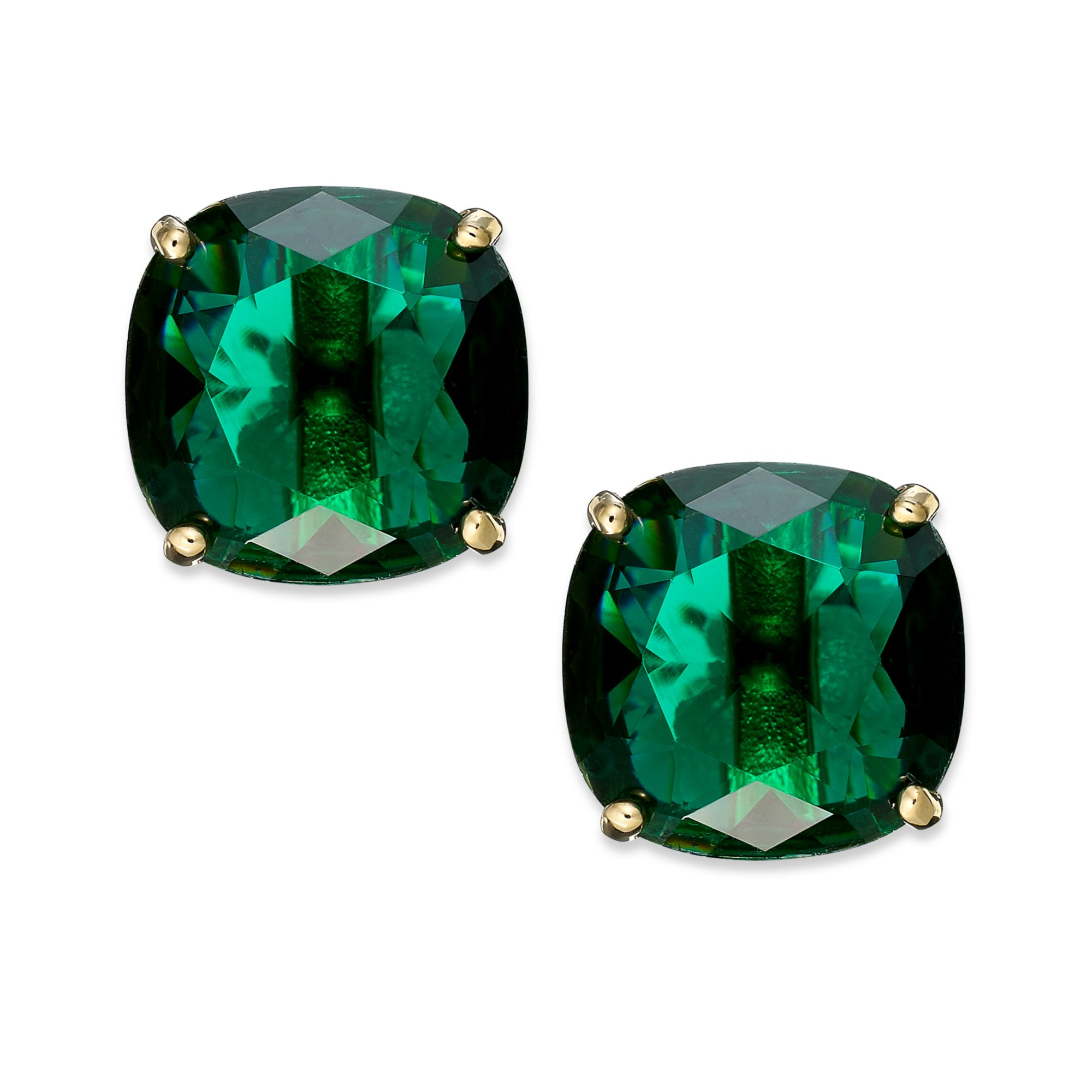 New York Goldtone Green Stone Square Stud Earrings