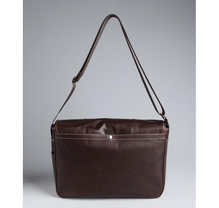 Longchamp Dark Brown Leather Logo Embossed Crossbody