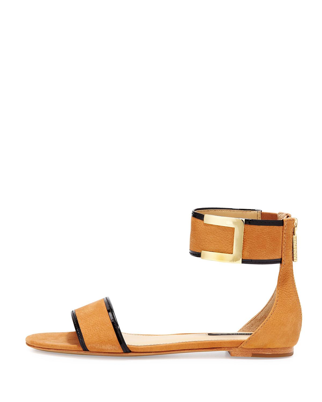 Lyst Rachel Zoe Gracie Anklestrap Flat Sandal Natural In
