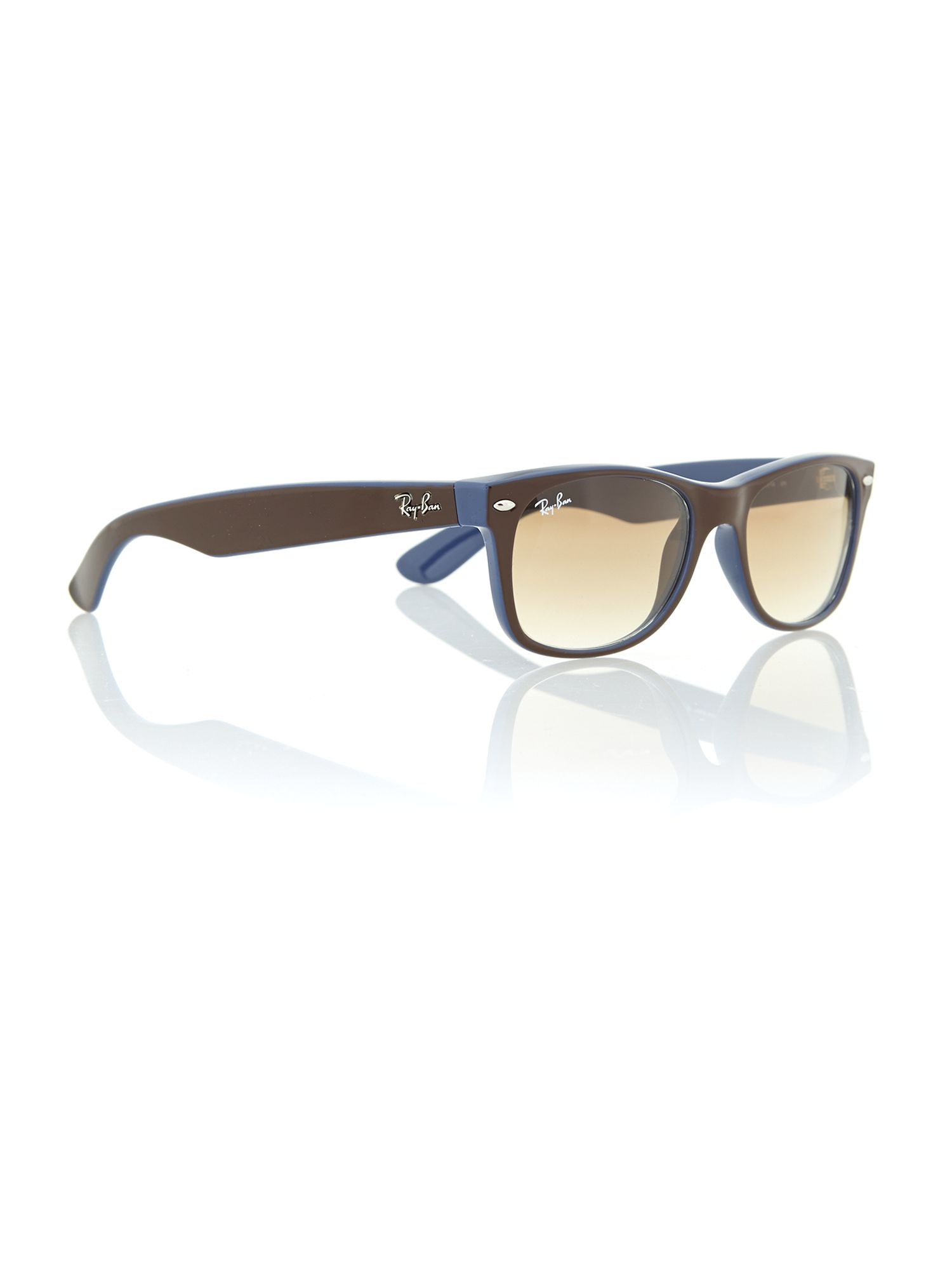 ray ban new wayfarer sunglasses top brown on blue  gallery