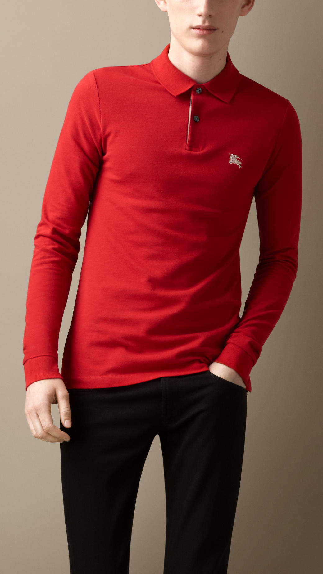 burberry long sleeve polo shirt in red for men lyst
