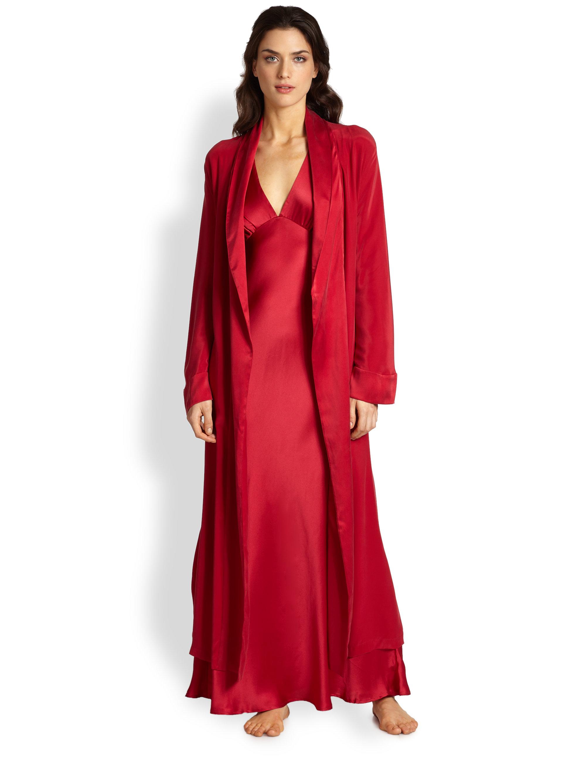 Jonquil Satin-Trimmed Velvet Long Robe in Red | Lyst |Red Silk Robe
