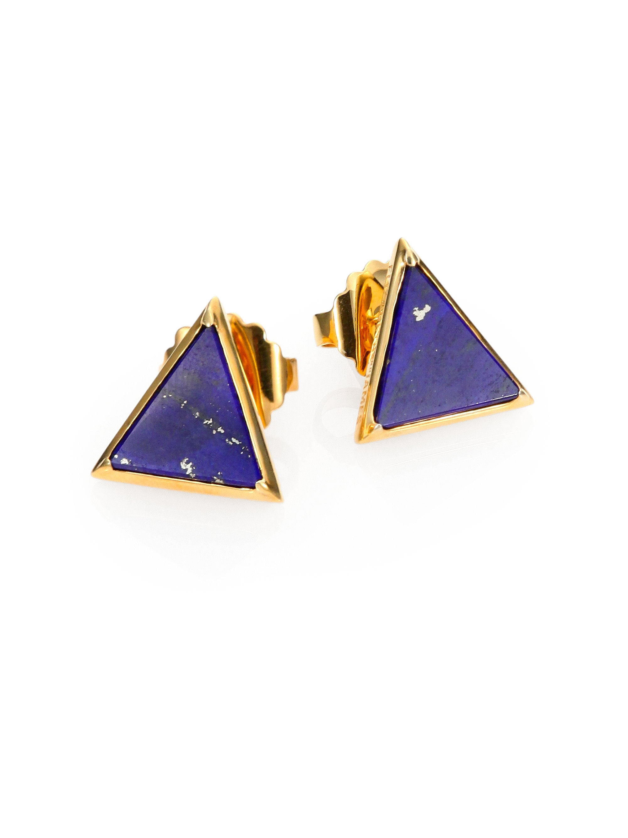 buy earrings lazuli cut cushion stud silver lapis