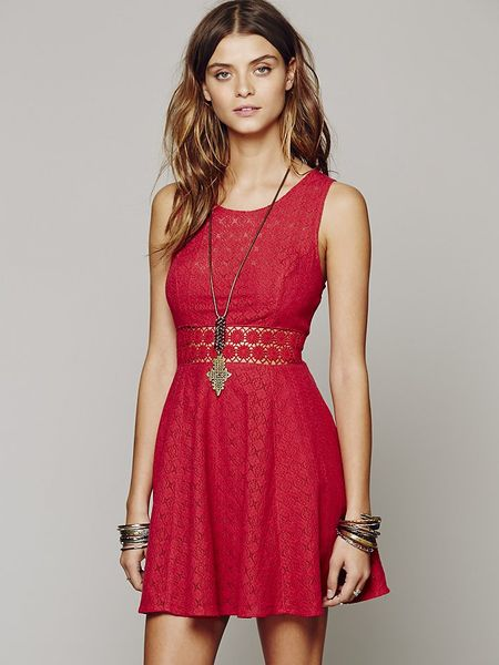 Free People Womens Fitted With Daisies Dress In Orange