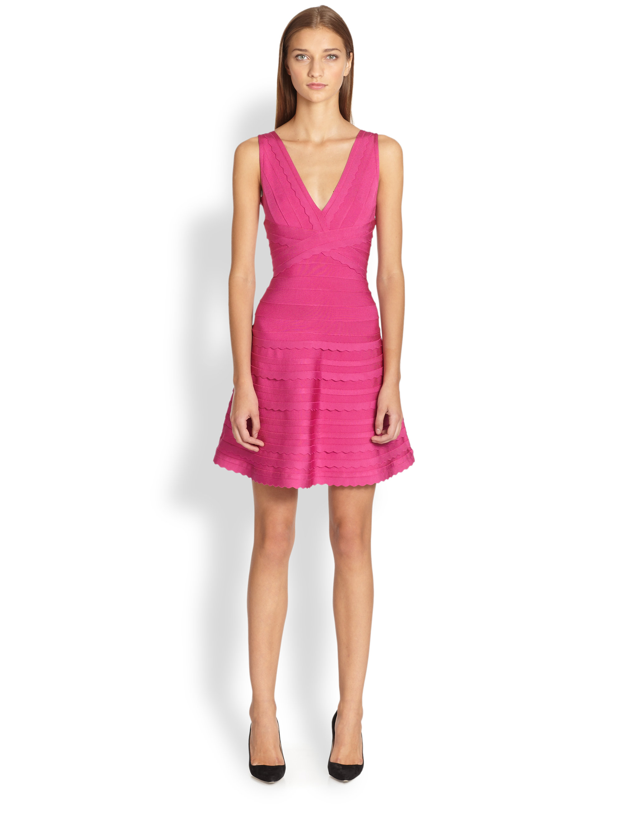 Lyst - Hervé Léger Scalloped A-line Dress in Pink