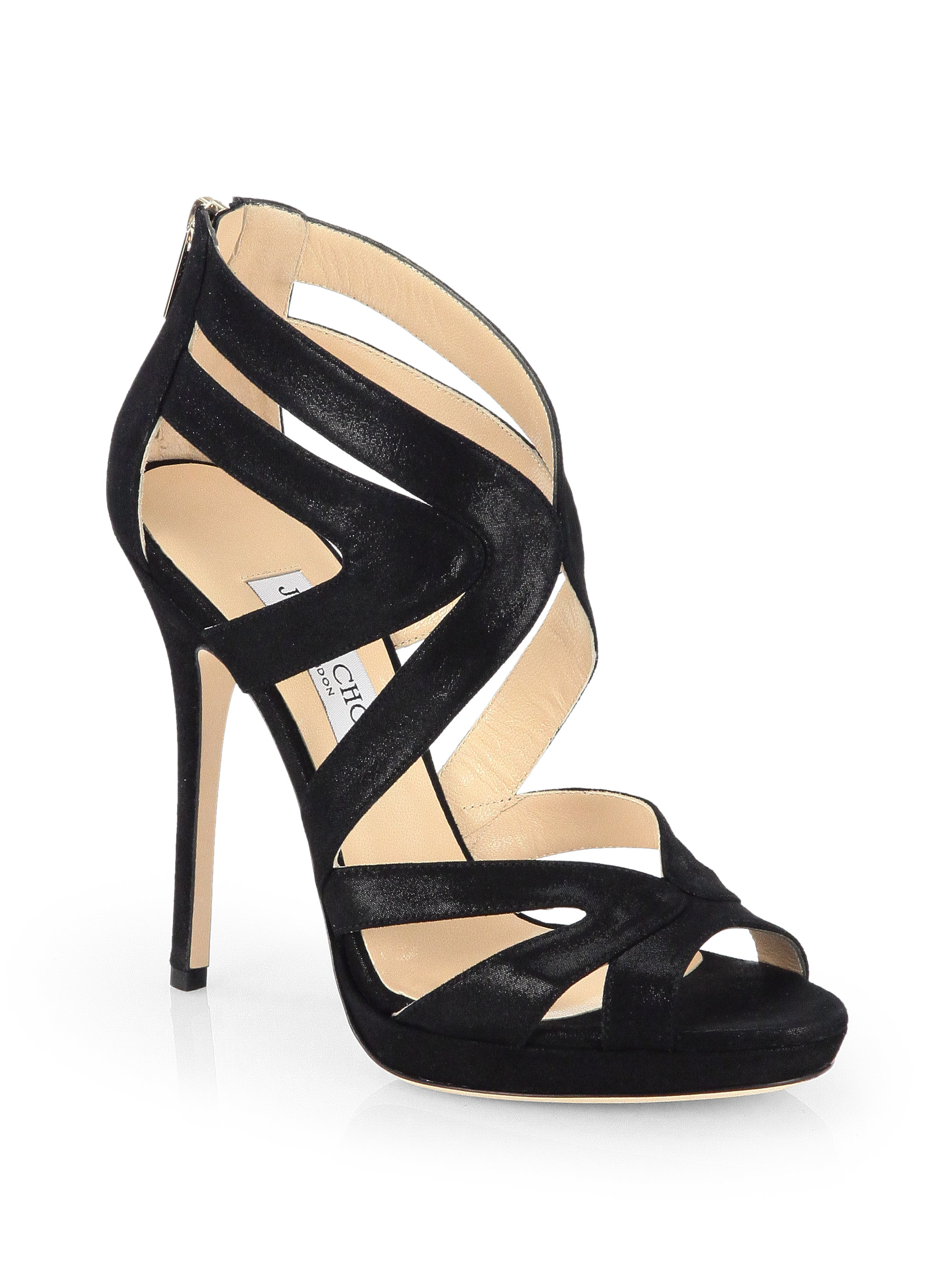 Jimmy Choo Collar Metallic Suede Platform Sandals In Black Lyst