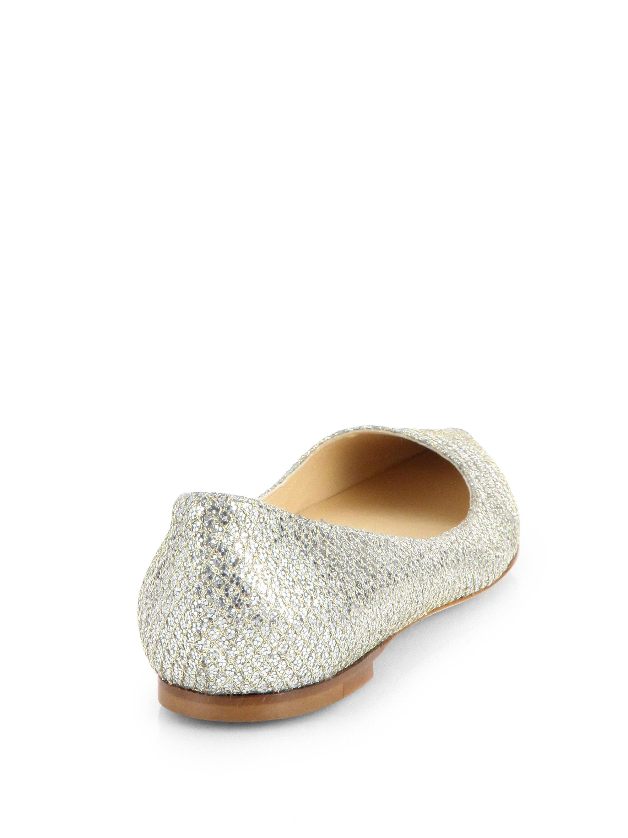 1c9f6216659b Lyst - Jimmy Choo Alina Glitter Point-toe Ballet Flats in Metallic