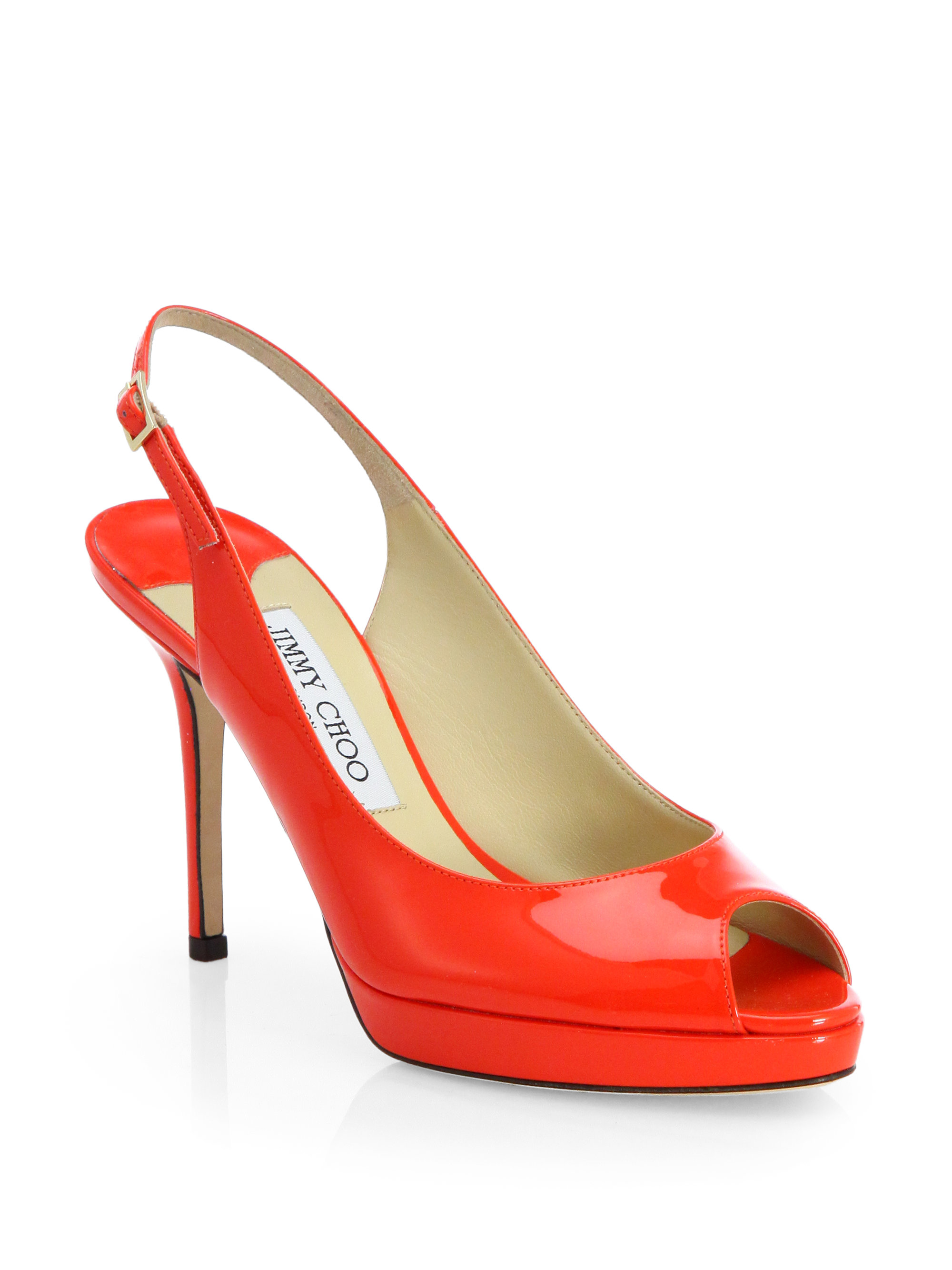 Jimmy choo Nova Patent Leather Slingback Pumps in Red (FLAME) | Lyst