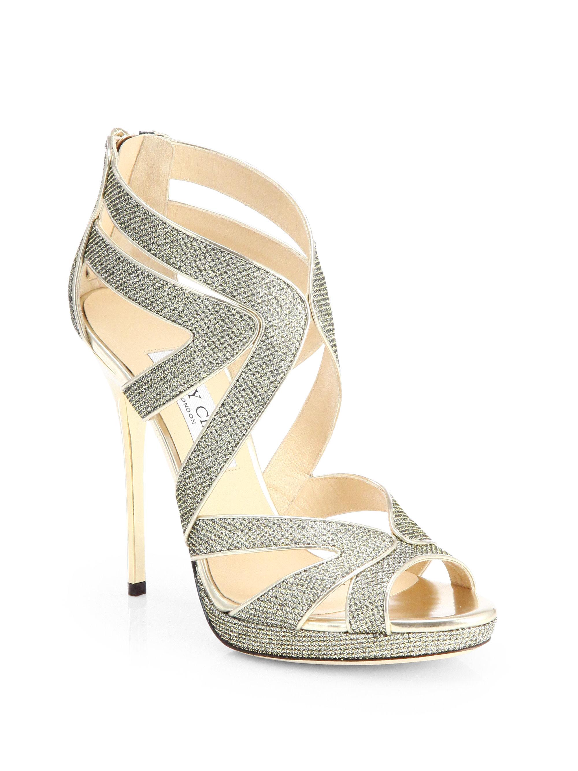 fb06e4d08f6 Lyst - Jimmy Choo Collar Glitter Lame Platform Sandals in Metallic