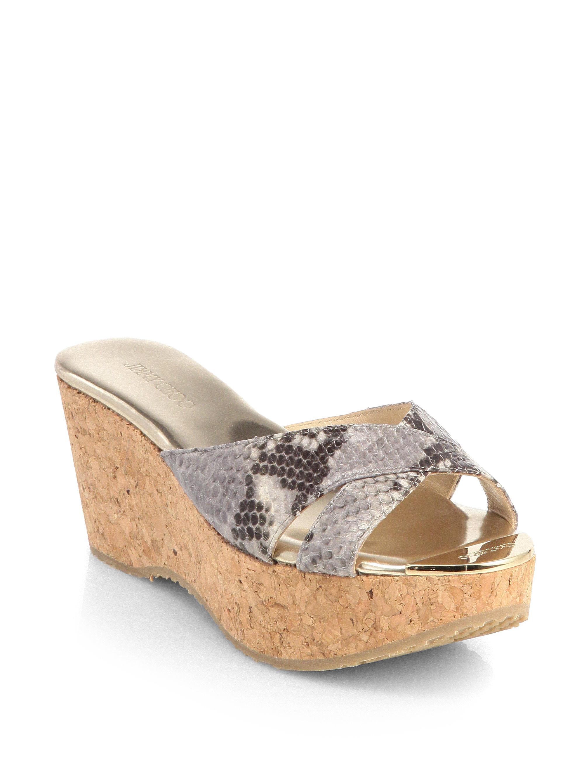8f5a3110f1b Lyst - Jimmy Choo Prima Snakeskin Cork Wedge Sandals in Natural