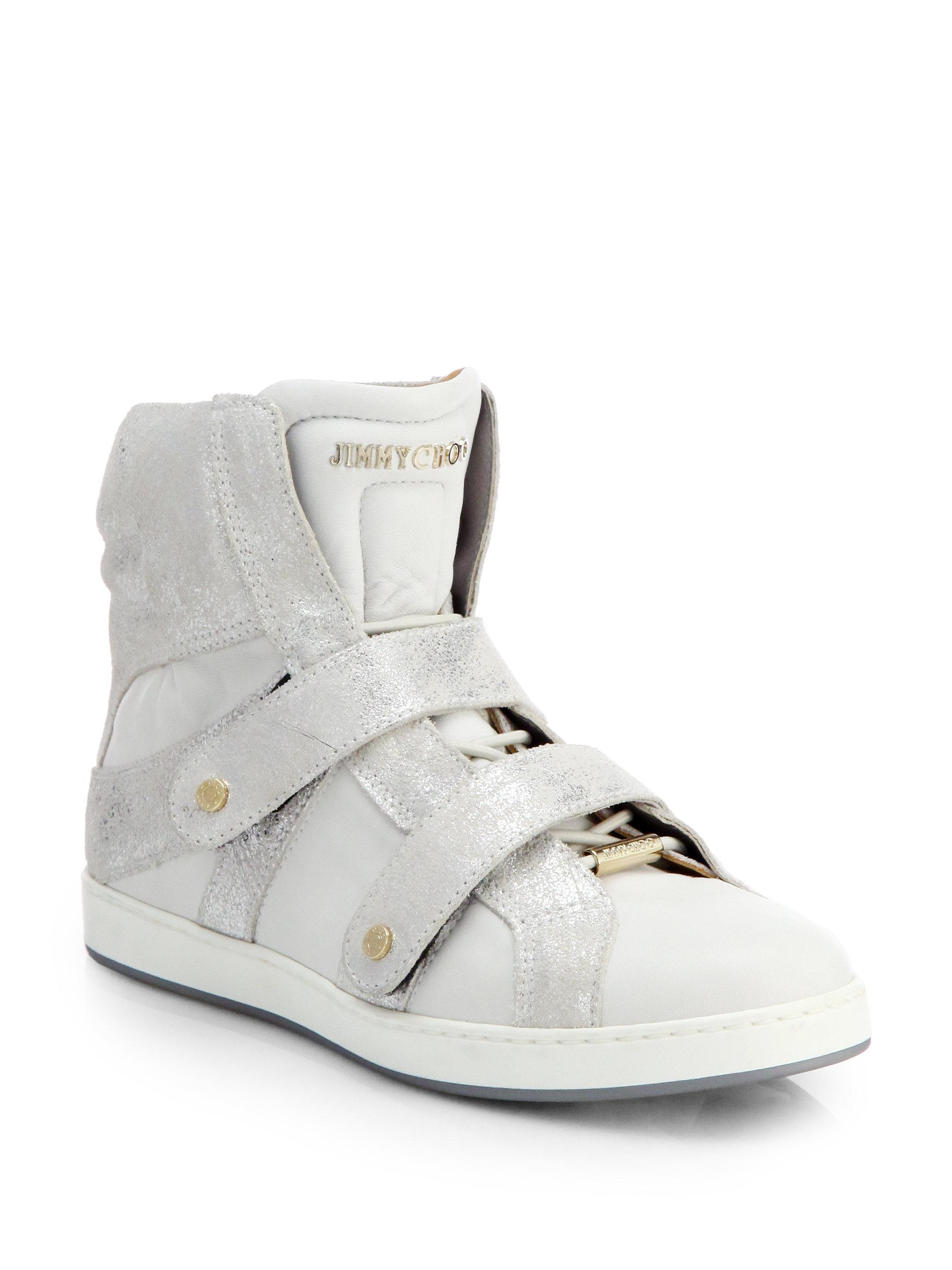 jimmy choo yazz metallic suede hightop wedge sneakers in gray off white lyst. Black Bedroom Furniture Sets. Home Design Ideas