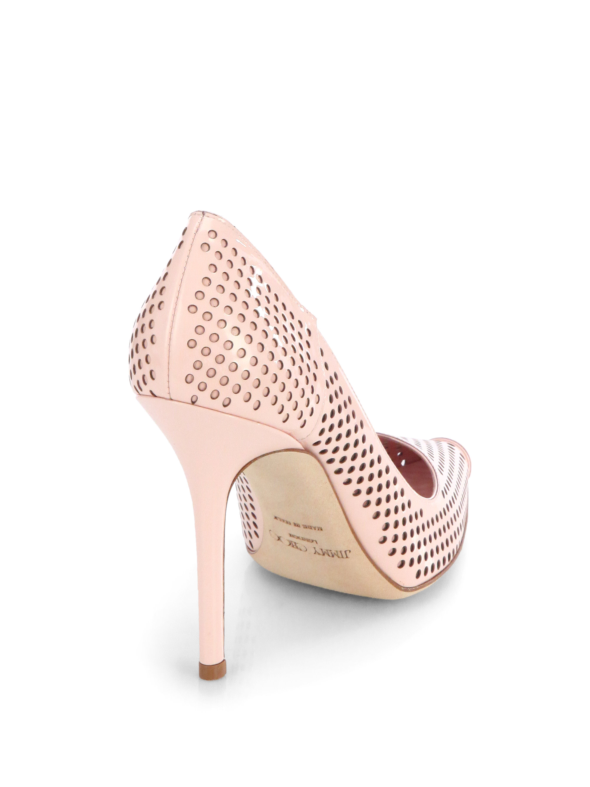 Jimmy Choo Perforated Patent Leather Pumps discount latest collections brand new unisex finishline free shipping finishline uQnxuE