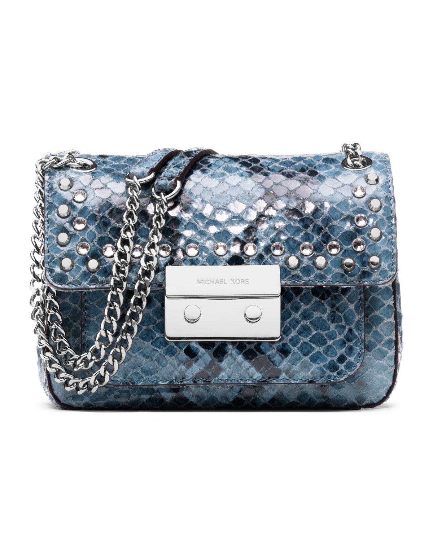 lyst michael kors michael small sloan jeweled shoulder flap bag in rh lyst com