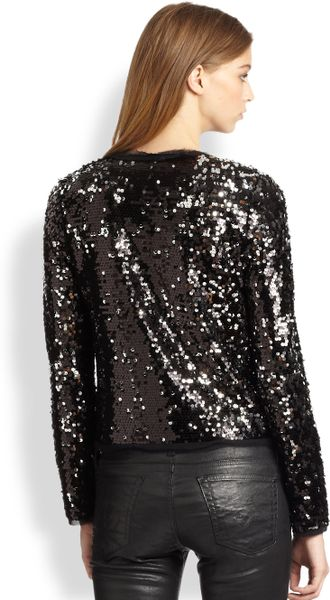 Milly Frayed Sequin Jacket in Silver | Lyst