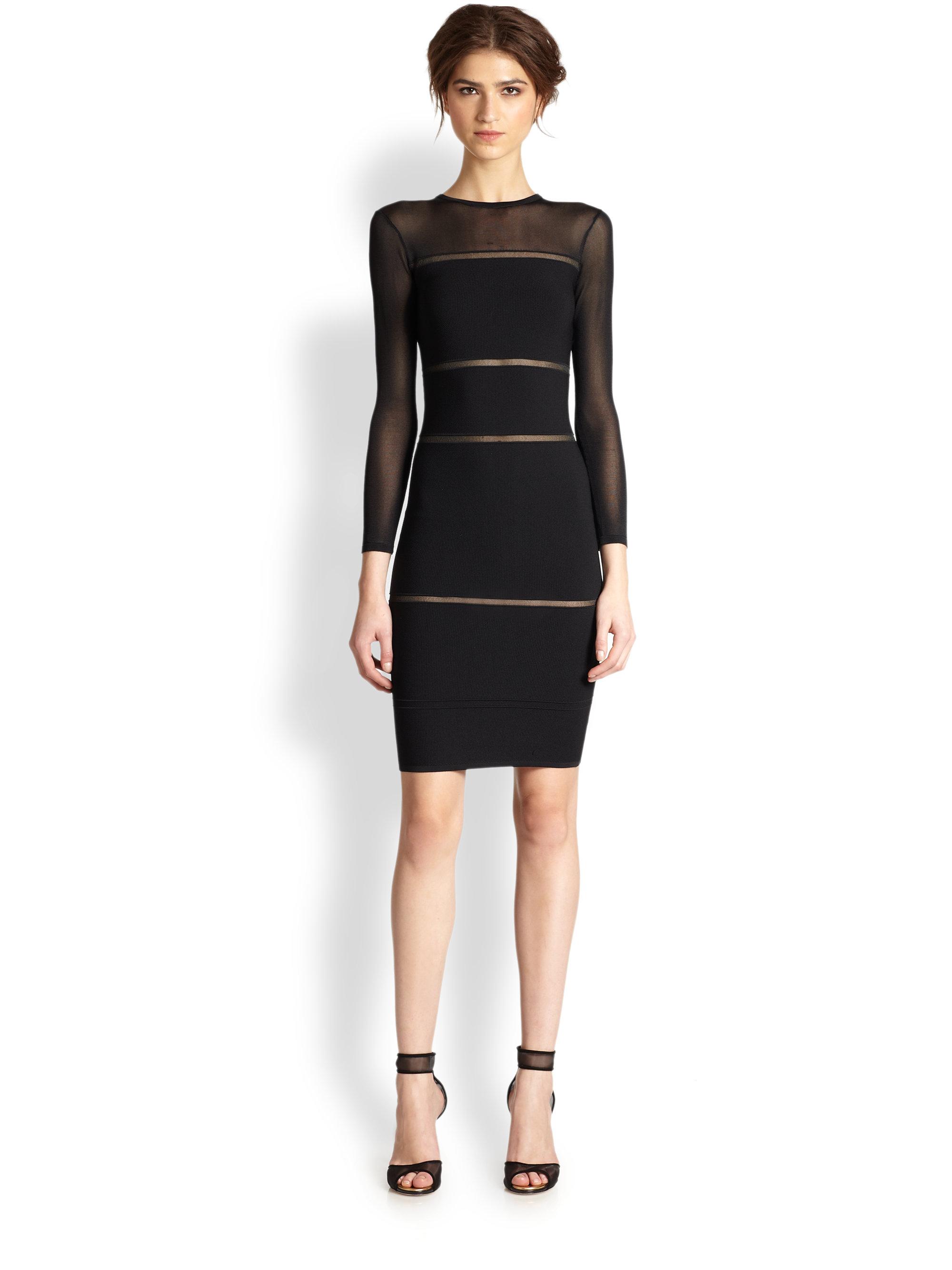 Nicole miller Mesh Insert Bandage Dress in Black | Lyst