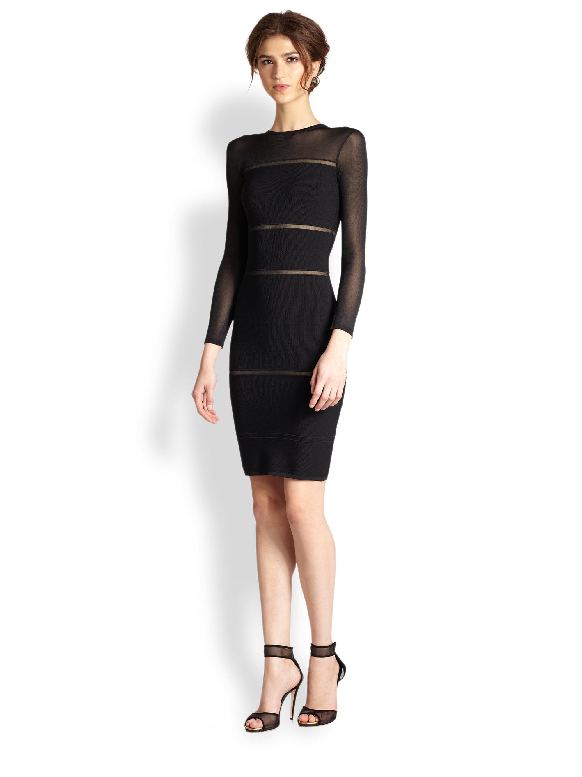 Nicole miller Mesh Insert Bandage Dress in Black - Lyst