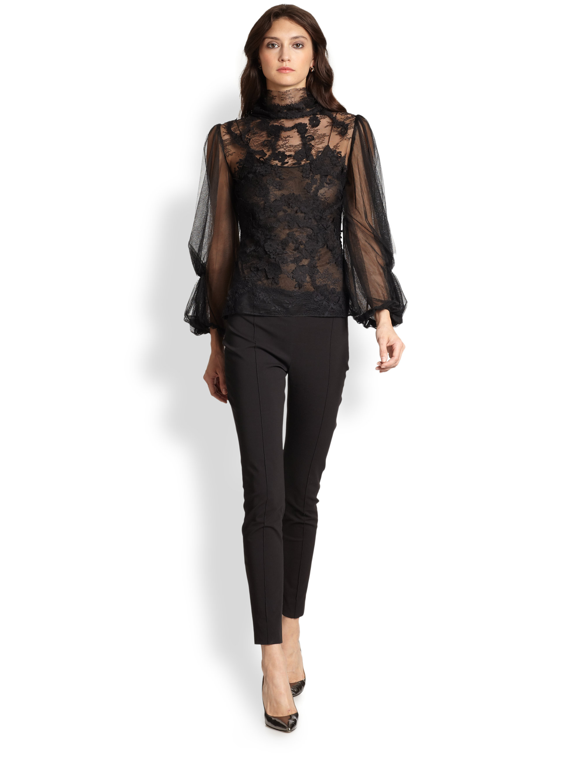 black lace long sleeve blouse | Gommap Blog