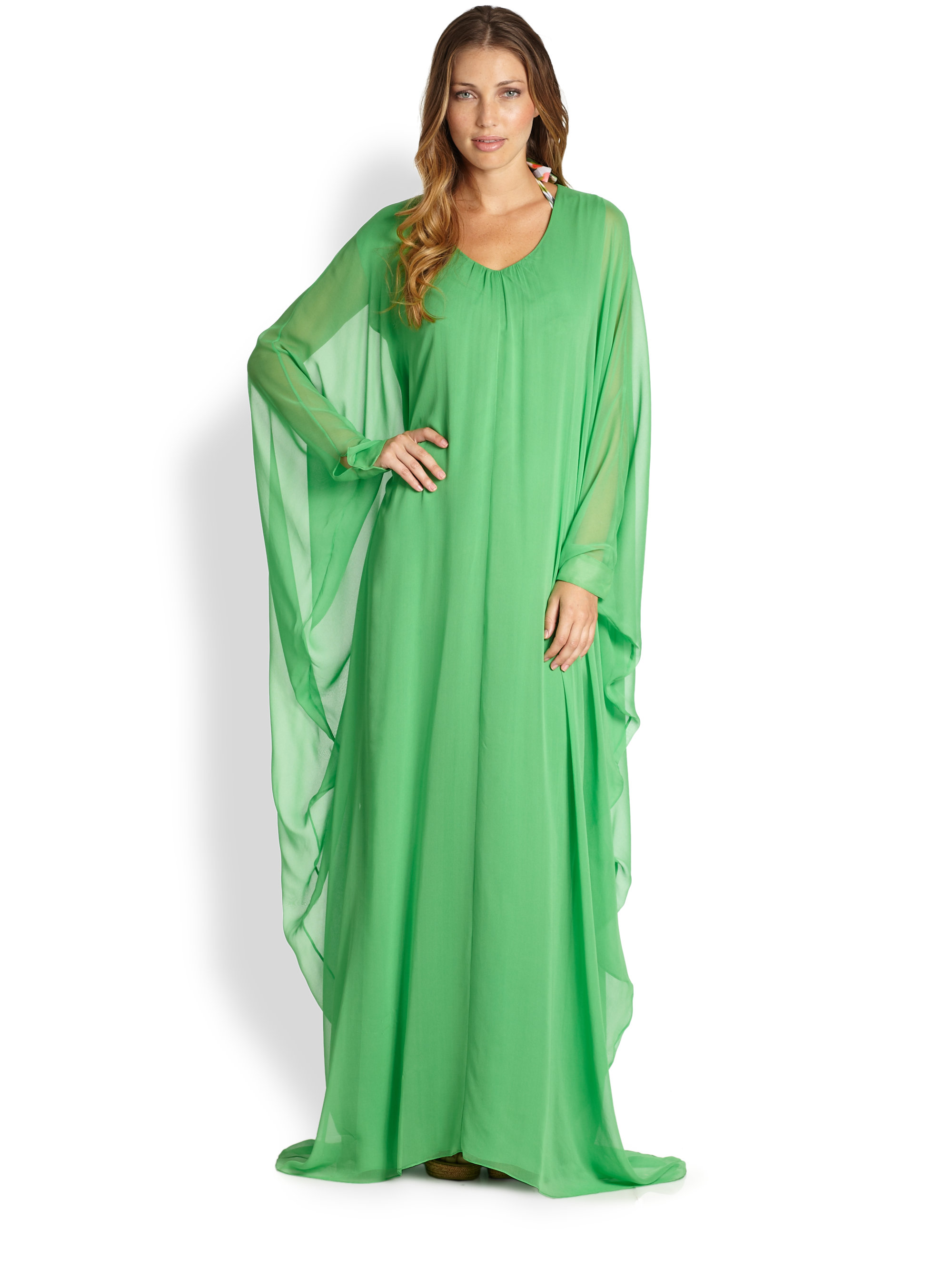 Oscar de la renta long silk caftan in green kelly green for Caftan avec satin de chaise