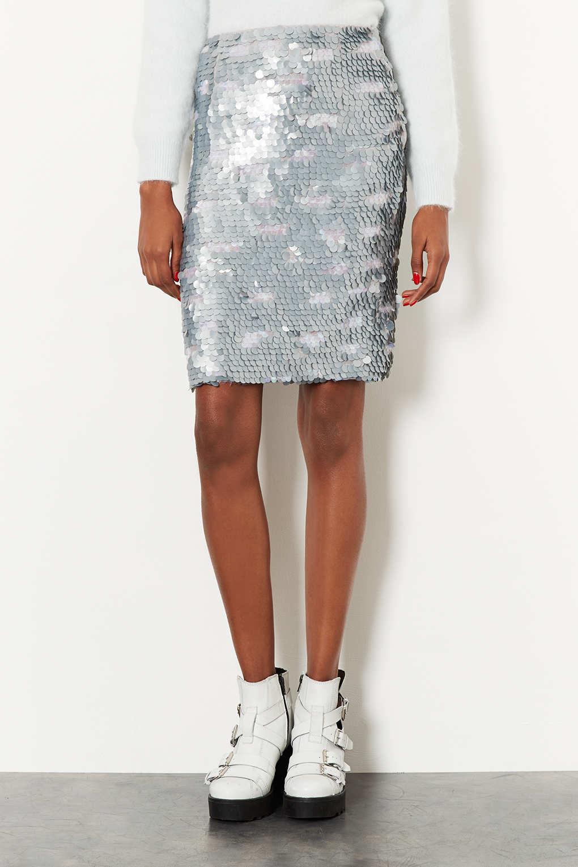Lyst - Topshop Silver Sequin Pencil Skirt in Metallic