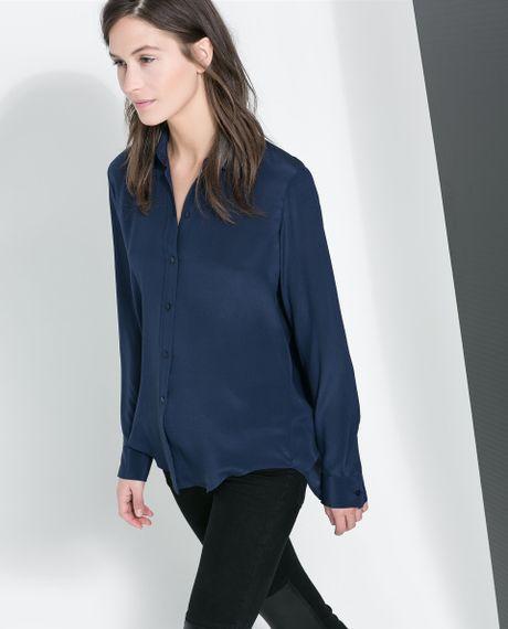 Zara Blue Silk Blouse 101