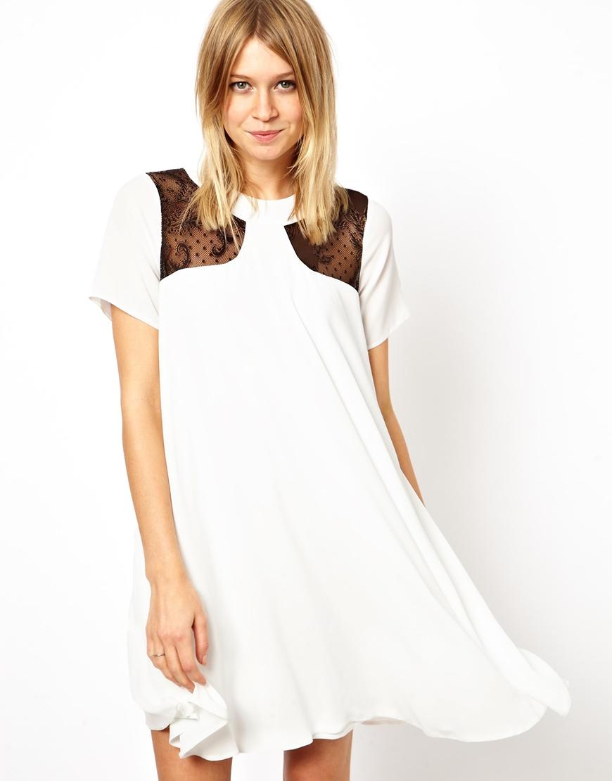 1ec40ded8f46 ASOS Lace Insert Swing Dress in White - Lyst