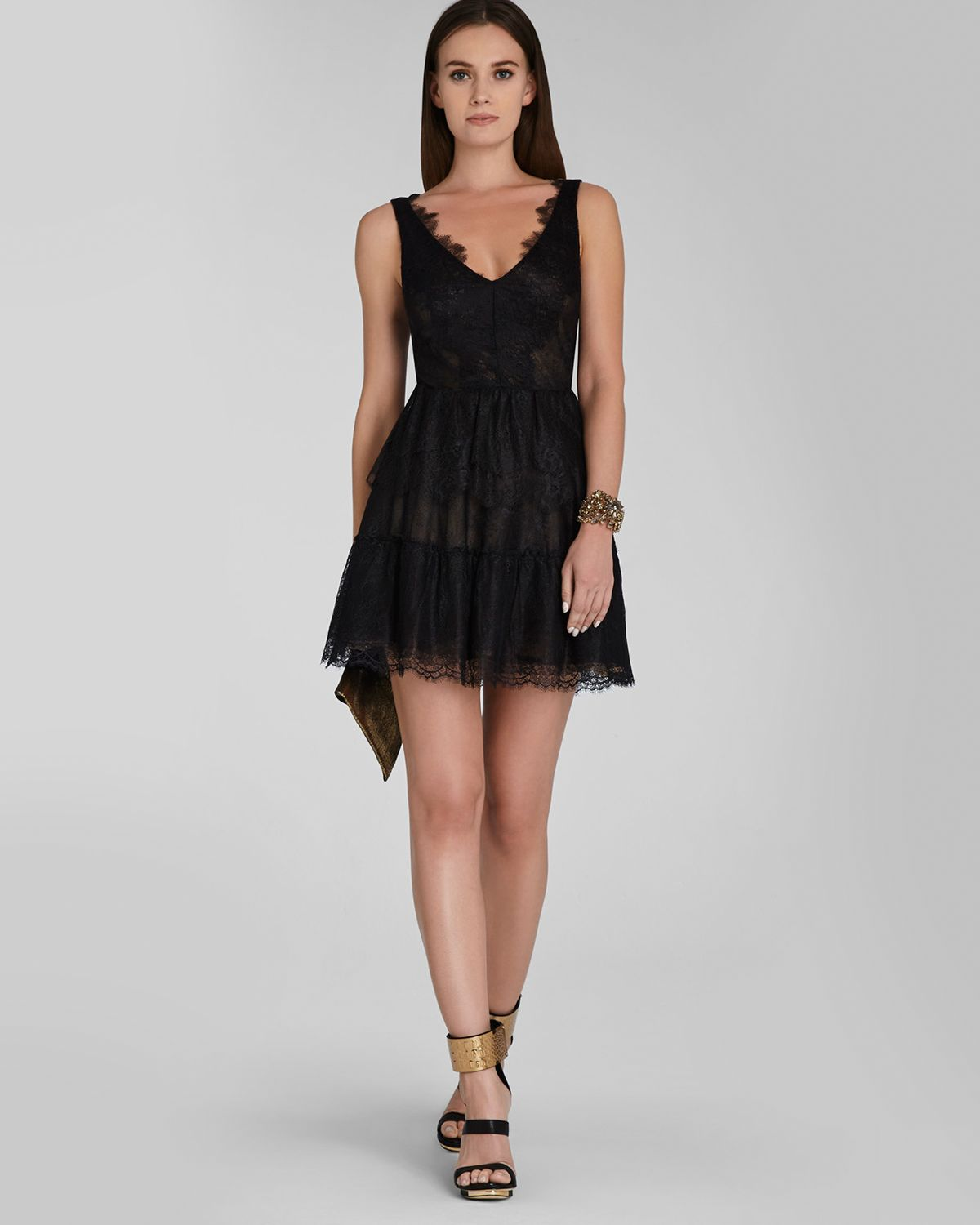 Bcbgmaxazria Dress - V Neck Lace Fit And Flare Willa in Black | Lyst
