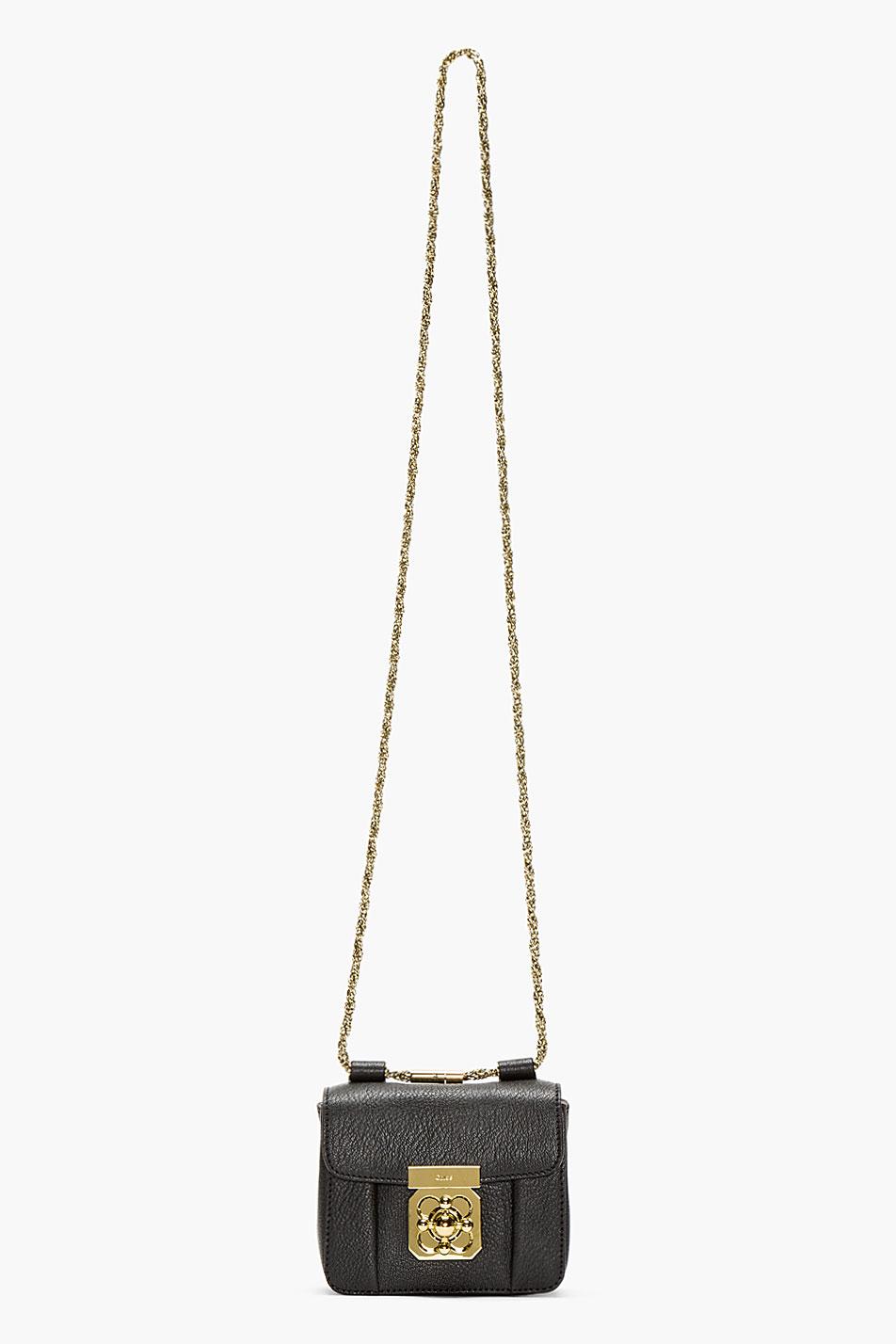 Chlo¨¦ Black Grained Leather Mini Elsie Bag in Gray (black) | Lyst