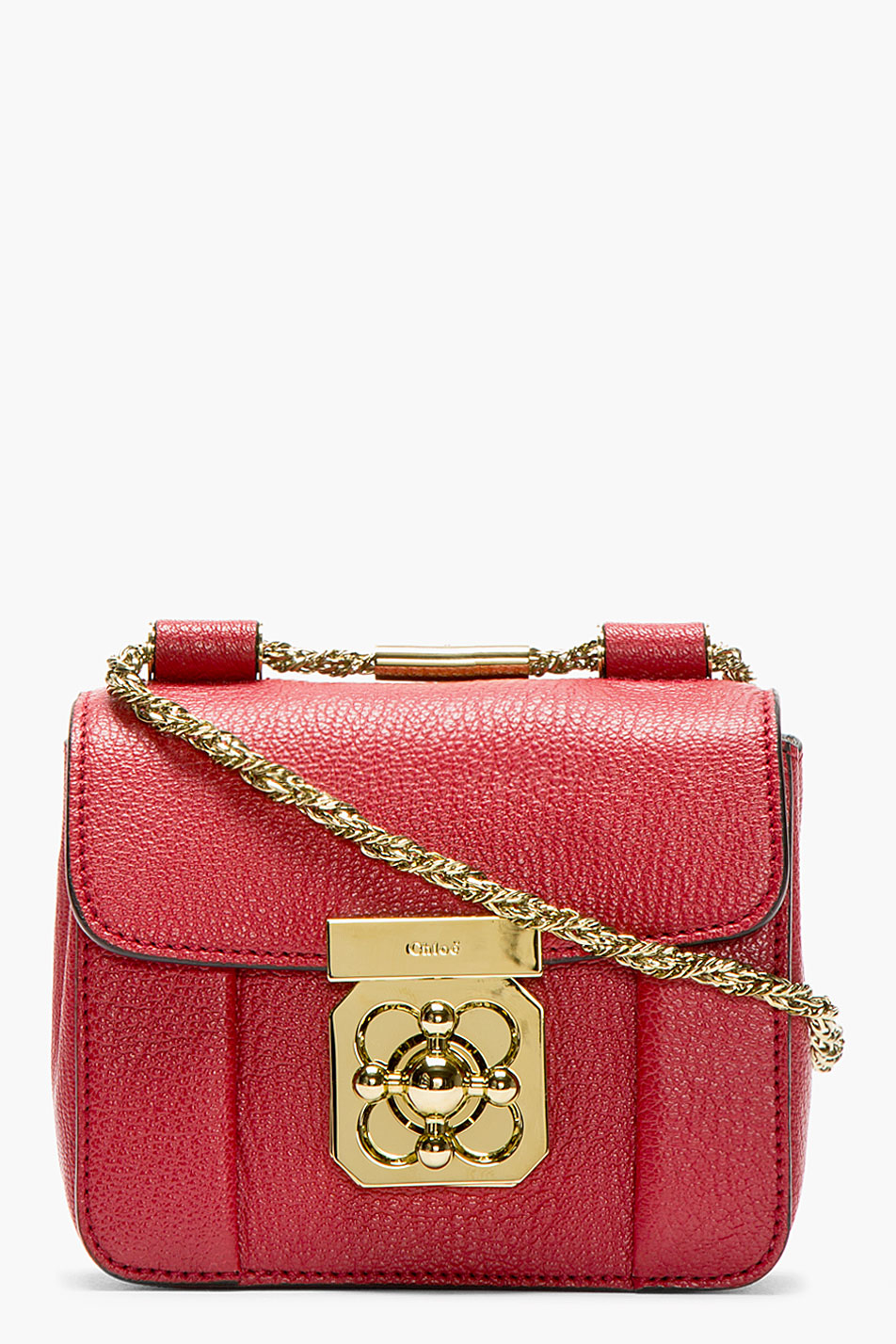 Chlo¨¦ Red Grained Leather Mini Elsie Bag in Red | Lyst